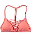 Damsel Coral Lattice Front Bralette Bikini Top