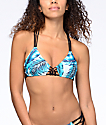 Damsel Macrame Banana Leaves Light Blue Triangle Bikini Top