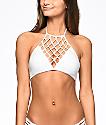 Damsel Macrame White High Neck Bikini Top