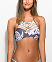 Damsel Purple Floral Crochet High Neck Bikini Top
