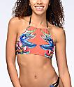 Damsel Tropical Escape Orange High Neck Halter Bikini Top