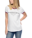 Diamond Supply Co Brilliant White & Burgundy Ringer T-Shirt
