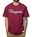 Diamond Supply Co Champagne Script Maroon T-Shirt