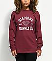Diamond Supply Co. Athletic Logo Burgundy Long Sleeve T-Shirt