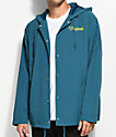 Diamond Supply Co. Champagne Script Turquoise Hooded Coaches Jacket