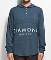 Diamond Supply Co. Stone Cut Navy Hooded Henley Shirt