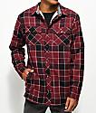 Dravus Jasper Sherpa Burgundy & Red Flannel Shirt