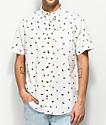 Dravus Jim Fly Print White Short Sleeve Button Up Shirt