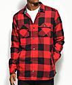 Dravus Rae Red & Black Buffalo Plaid Sherpa Flannel Shirt