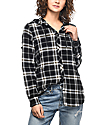 Empyre Aimie Black & Mustard Destructed Hooded Flannel Shirt