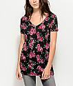 Empyre Black & Pink Floral V-Neck T-Shirt