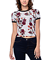 Empyre Cali Floral Striped White Crop Ringer T-Shirt