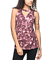 Empyre Canyon Keyhole Burgundy Tie Dye Destroyed Muscle Tank