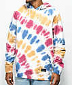 Empyre Coral Blue, Gold & Red Tie Dye Hoodie