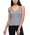 Empyre Crimson Black & White Stripe Lace Up Tank Top