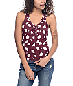 Empyre Crimson Burgundy Floral Lace Up Tank Top
