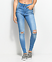 Empyre Drea Retro Blue Distressed High Rise Jeggings