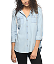 Empyre Eddy Chambray Button Up Hooded Shirt