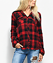 Empyre Eddy Red & Black Tie Dye Hooded Flannel Shirt