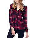 Empyre Eddy Red & Heather Black Hooded Flannel