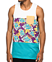 Empyre Encore White & Teal Floral Tank Top