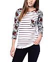 Empyre Georgina White & Floral Striped Baseball T-Shirt