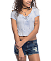 Empyre Hawn Lace Up Light Blue Tie Dye Top
