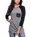 Empyre Indira Wild Black Micro Stripe Baseball T-Shirt