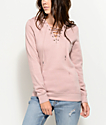 Empyre Irma Mauve Lace Up Hoodie