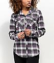 Empyre Jai Grey & Purple Hooded Flannel Shirt