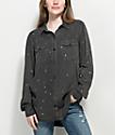 Empyre Jamie Black Paint Splatter Button Up Shirt