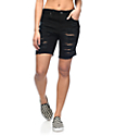 Empyre Kali Black Destructed Bermuda Boyfriend Shorts