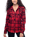Empyre Lenox Red & Black Hooded Flannel