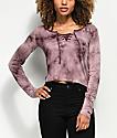 Empyre Lola Lace Up Purple Tie Dye Long Sleeve Shirt