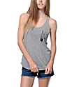 Empyre Micah Grey Pocket Lace Back Tank Top