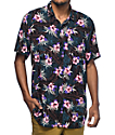 Empyre Night Moves Tropical Black Short Sleeve Button Up Shirt