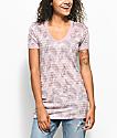Empyre Palm camiseta en color malva a rayas con el cuello en V