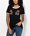Empyre Paulie Roses Black & White Ringer T-Shirt