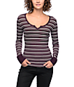 Empyre Rhonda Burgundy & Grey Stripe Long Sleeve Shirt