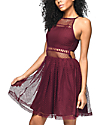 Empyre Sheeta Burgundy Mesh Skater Dress