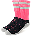 Empyre Shook Speckle Pink , Grey & Black Crew Socks
