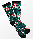 Empyre Space Vines Green & Floral Print Crew Socks
