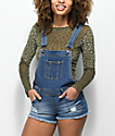 Empyre Taryn Distressed Dark Wash Overall Shorts