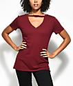 Empyre Topaz Dark Red Choker Neck T-Shirt