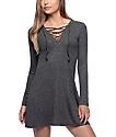 Empyre Walsh Lace Up Grey Long Sleeve Ribbed Dress