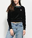 FILA Dina Black Velour Crop Crew Neck Sweatshirt