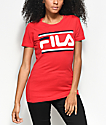 FILA Double Stripe Logo Red T-Shirt