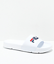 FILA Drifter White, Red & Navy Slide Sandals