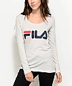 FILA Logo Long Sleeve Light Grey T-Shirt