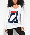 FILA Square Logo White Long Sleeve T-Shirt